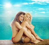 stock photo of enamored  - Two sexy woman at the beach - JPG