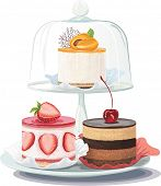 picture of fancy cakes  - Strawberry creamy cake and chocolate cake on plate and apricot cake on cake stand under glass dome - JPG