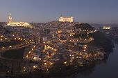 stock photo of nightfall  - Nightfall in Toledo Castilla la Mancha Spain - JPG