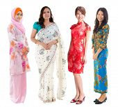 Group of Southeast Asian women in different culture. Full body diversity women in different traditio