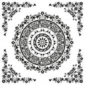 foto of ottoman  - oriental ornament in black and white circular - JPG