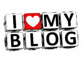 3D I Love My Blog Button Click Here Block Text