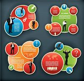 stock photo of spherical  - An infographic template for corporate and business with spherical elements and people illustrations - JPG
