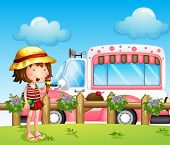 image of ice-cream truck  - Illustration of a little girl and the ice cream bus - JPG