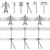 image of electricity pylon  - High voltage power lines - JPG