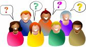 stock photo of people icon  - group of people asking questions in a meeting - JPG