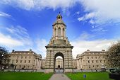 foto of trinity  - View of the main building at the entrance of the Trinity College Dublin Ireland - JPG