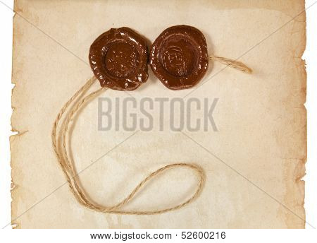 Blank paper surface texture with wax seal close up isolated on a white background