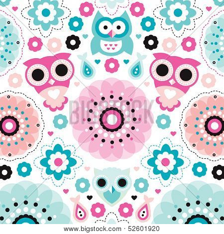 Cute owls and flowers illustration decorative baby background pattern print in vector