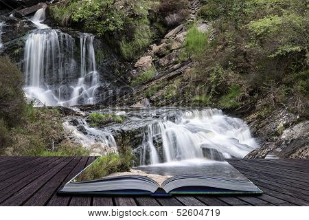 Creative Concept Pages Of Book Rhiwargor Waterfall Landscape In Snowdonia National Park During Summe