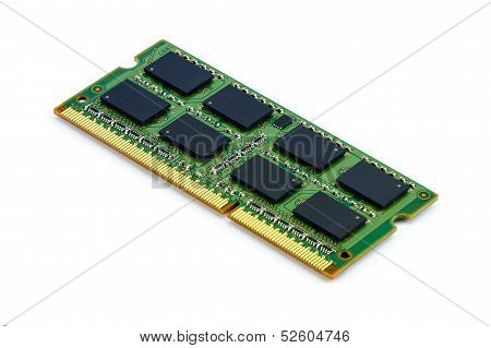 Green Ddr Ram Stick On Isolated Background