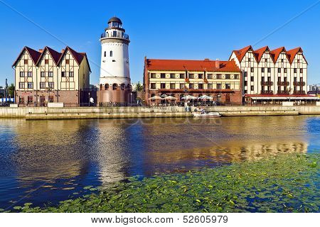 Fishing Village On A Summer Evening. Kaliningrad (until 1946 Koenigsberg), Russia