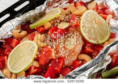 Chicken breast being cooked in asian style in oven