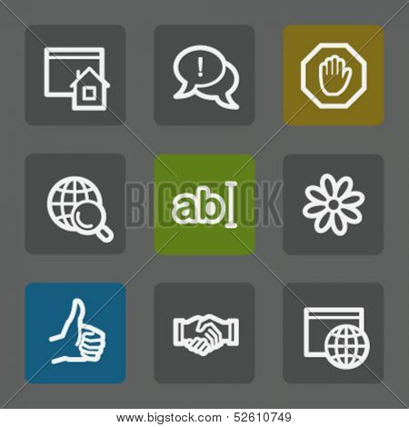 Internet web icons set 1, flat buttons