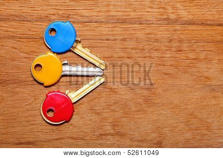 House Keys With Colorful Plastic Coats Caps On Table