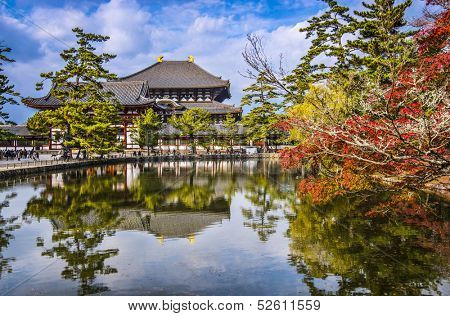 Todaiji Temple in the fall in Nara, Japan.