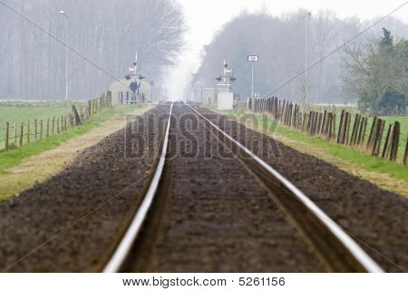 Railtrack With Hazy Crossing.