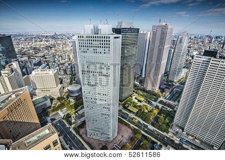 Financial buildings in Shinjuku, Tokyo, Japan.