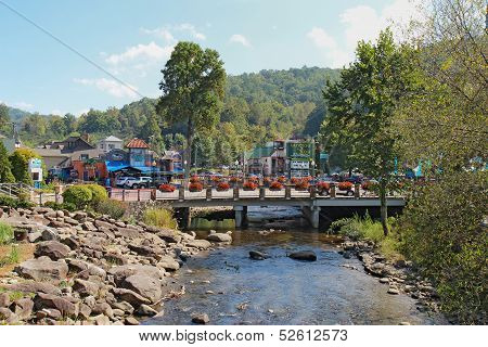 Bridge Over The Little Pigeon River In Gatlinburg, Tennessee