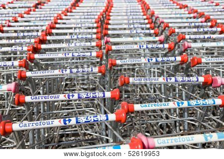 BEIJING,CHINA - MAR 28: Carrefour supermarket shopping cars stacked in rows on March 28th 2013 in Beijing. Carrefour is The world's second largest international retail chain.