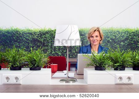 Portrait of confident female environmentalist sitting at desk in office
