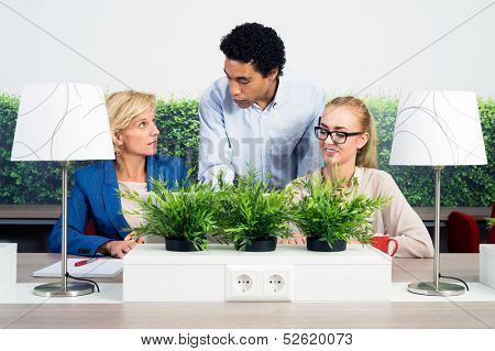 Multiethnic environmentalists discussing at desk in office