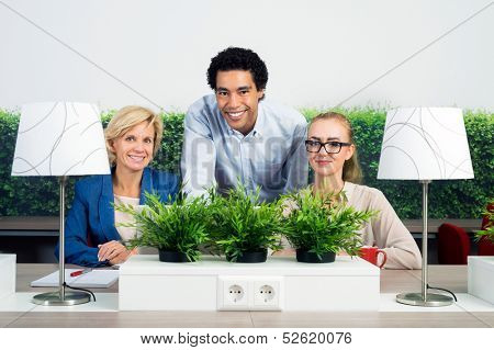 Portrait of confident multiethnic environmentalists at desk in office