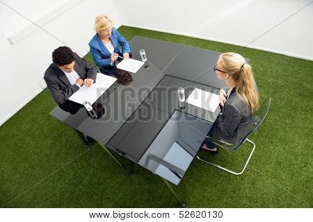 High angle view of environmentalists sitting at desk in office during a job interview.
