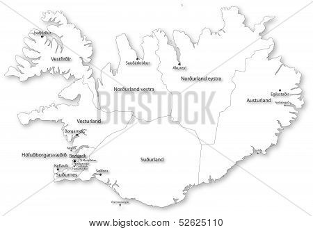 Vector Map Of Iceland With Regions & Cities