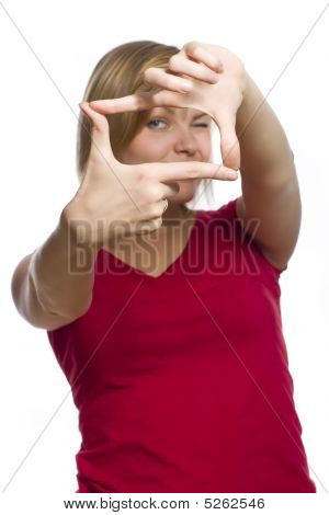 Beautiful Girl Framing Her Face