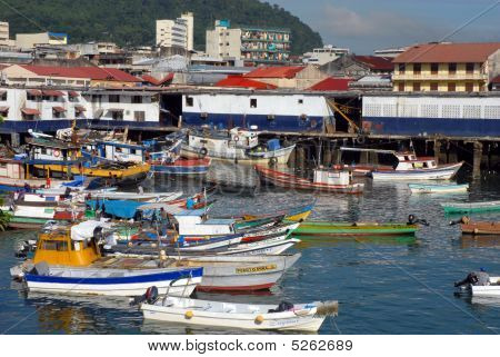 Colorful Group Of Moored Boats At Casco Viejo, Panama