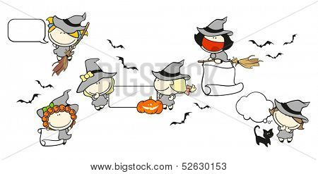 Funny kids #67 - Halloween backgrounds with witches (raster version)