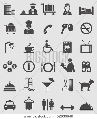 Hotel icons set. Vector