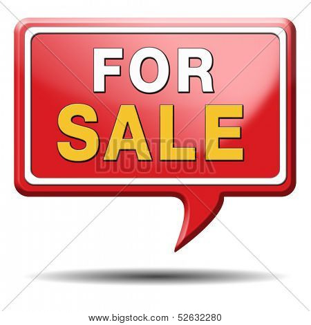 For sale sign selling a house apartment or other real estate button. Home to let icon.