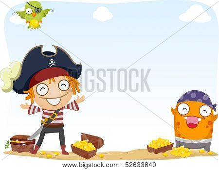 Background Illustration of Pirate and a Monster Surrounded by Gold Coins and Treasure Chests