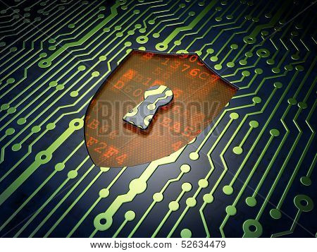 Safety concept: Shield With Keyhole on circuit board background