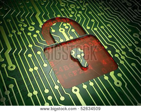 Data concept: Closed Padlock on circuit board background