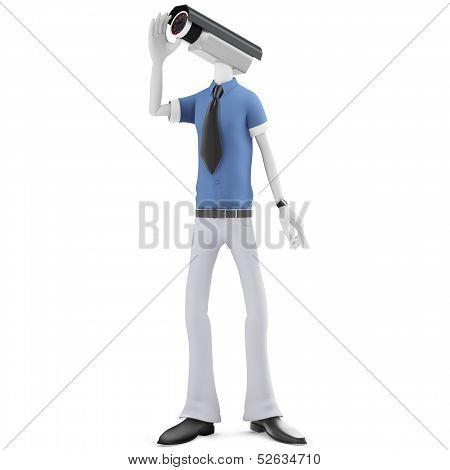 3D Man Security Camera Surveillance