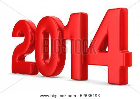 2014 new year. Isolated 3D image
