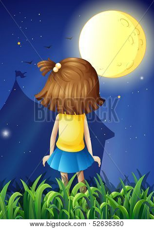 Illustration of a little girl facing the bright fullmoon