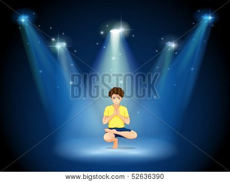 Illustration of a boy doing yoga at the stage