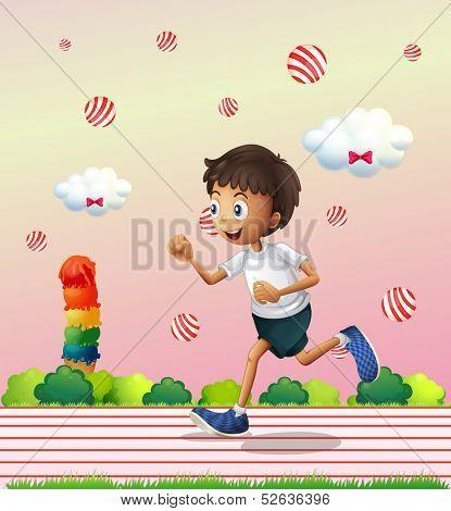 Illustration of a boy jogging at the candyland