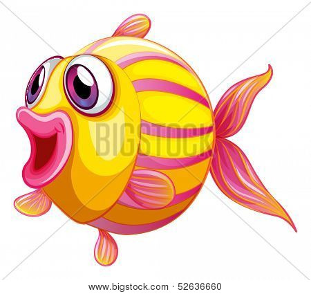 Illustration of a colorful pouty fish on a white background