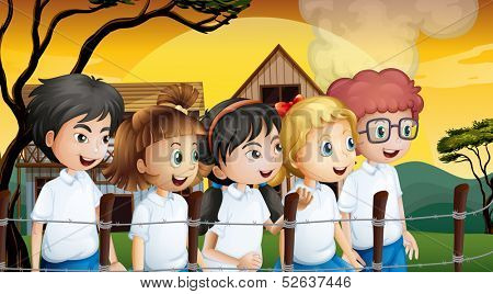Illustration of the kids near the barbwire fence