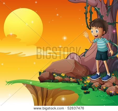 Illustration of a young boy above the rocks near the cliff