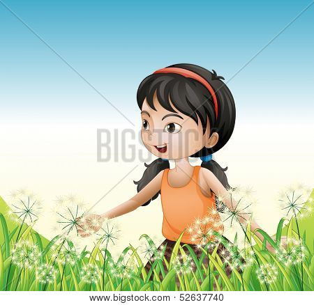 Illustration of a young girl wearing an orange sando above the hill