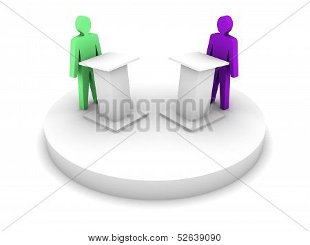 Debate. Speaking From A Tribune, Confrontation. Concept 3D Illustration.
