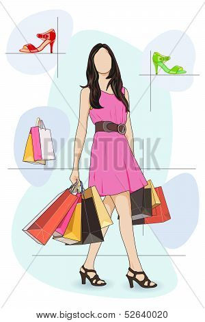 Lady shopping in Shoe store