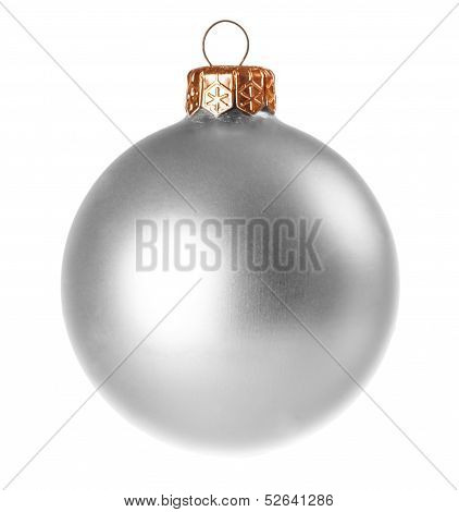 Silver Dull Christmas Ball On White Background