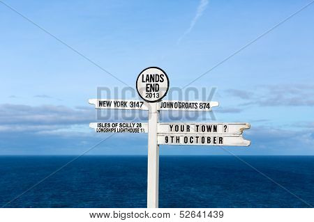 Land`s End signpost Cornwall England UK